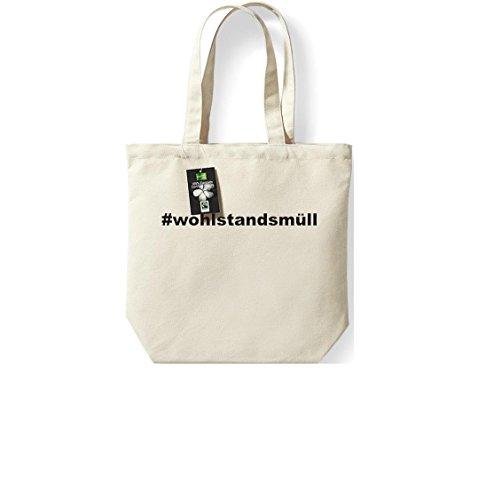 Fairtrade Stoffbeutel #WOHLSTANDSMÜLL Hashtag Beutel, Shopper Umhängetasche , Farbe natur