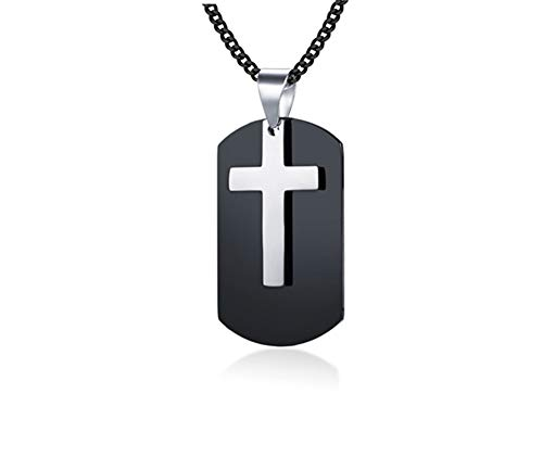 LF Mens Personalized Name Date Custom Stainless Steel IP Black Plated Christ Holy Cross Military Dog Tag Necklace Army Tag Corss Pendant Christian Jewelry,Free Engraving Customized