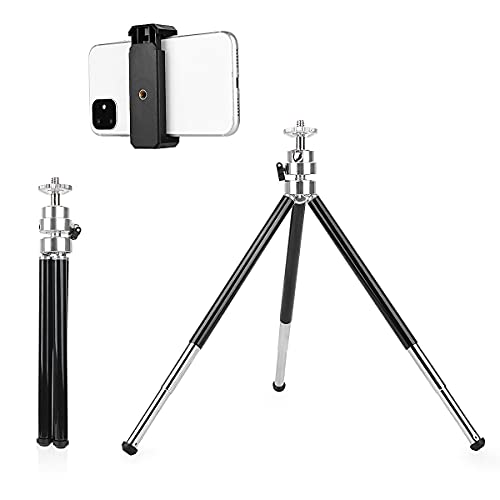 Mini Tripod, 6-12 in Small Tripod Stand with Phone Holder, (2rd Generation,Double-Layer Designed),Lightweight Tripod for Webcam Gopro Small Camera