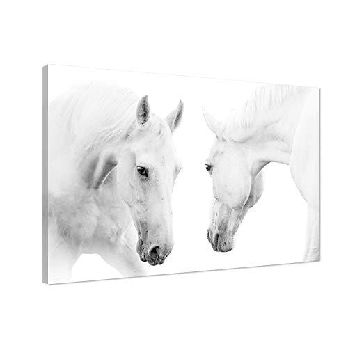 Dos pinturas modernas de la lona de los caballos blancos en la lona Arte contemporáneo de la pared Lámina giclée enmarcada HD de la foto impresa a la decoración de la foto para la sala de estar