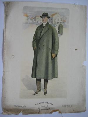 Lámina diseño - Design Plate : ABRIGO CABALLERO, Hiver 1922 - 23