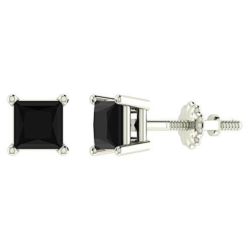 Black Diamond Stud Earrings for Women Men Princess Cut 14K White Gold 0.75 ct t.w. Gift Box Authenticity Cards