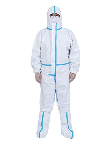 DISHANG Tute monouso mediche Tute protettive Resistenti Protezione Chimica Abbigliamento da Lavoro per Pulizia, Produzione, Assistenza Sanitaria (Taglia 180)