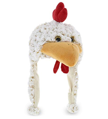 Dollibu White Rooster Plush Hat - Super Soft Warm Hat with Ear Flaps, Funny Plush Party Crazy Hat, Stuffed Animal Chicken Halloween Costume Toy Hat, Cozy Fleece Winter Hat for Kids & Teens - One Size