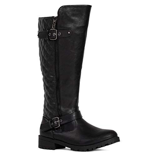 RF ROOM OF FASHION Women's Knee High Hidden Pocket Riding Boots Black PU Size.7.5