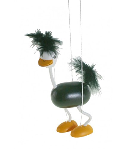 CAL FUSTER - Marioneta de Cuerda en Madera Pintada Mod. Avestruz. Medidas: 38x16 cm.
