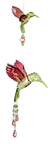 dekojohnson Fensterdeko exklusiver Acryl-Hänger-Colibri mit Blumen-Deko Fensterschmuck Hängedeko Eisvogel Acryl grün rot 44cm Sonnenfänger