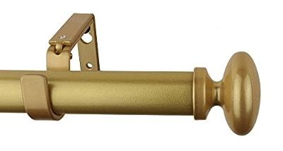 MERIVILLE 1-Inch Diameter Prima Single Window Treatment Curtain Rod, 48-Inch to 84-Inch, Gold