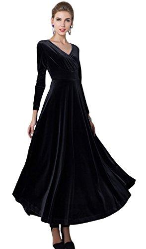 Urban GoCo, klassisches langes elastisches Damenkleid, Samt, V-Ausschnitt, lange Ärmel Gr. 52, schwarz