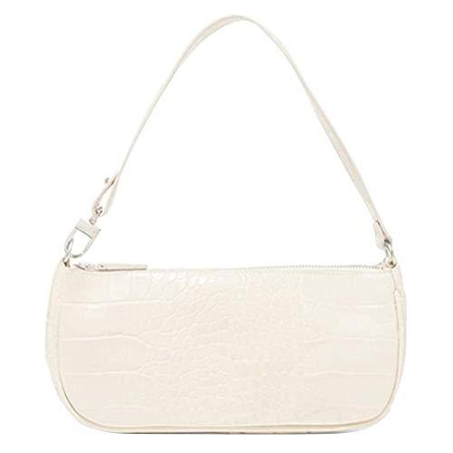 Wisvis White Sling Rucksack, Crossbody Satteltasche Handtasche Umhängetasche, Retro Achsel Vintage Crocodile Pattern Umhängetasche PU Ledertasche Frauentasche Handtaschen für Frauen Mädchen