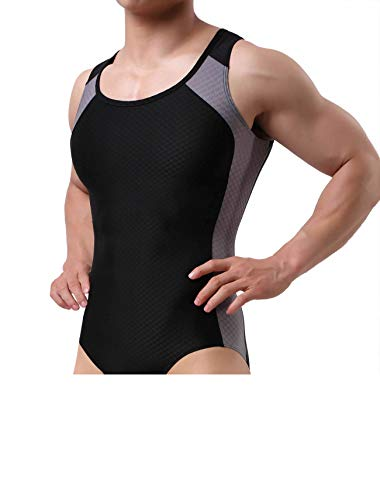 BRAVE PERSON Men's Figure-Shape Bodysuits Elastic Workout Clothes Swimwear, Fitness, Cycling 2241 (L / 30'-35'', 001- Black)