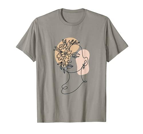 Abstrait minimaliste visage de femme ligne art floral fleur T-Shirt
