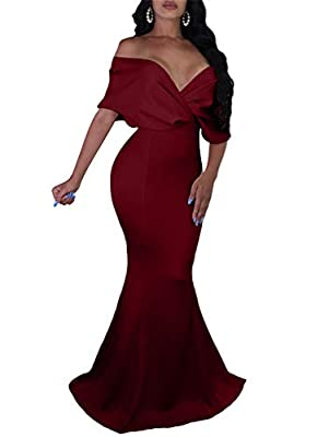 GOBLES Women Sexy V Neck Off The Shoulder Evening Gown Fishtail Maxi Dress (L, Wine red)