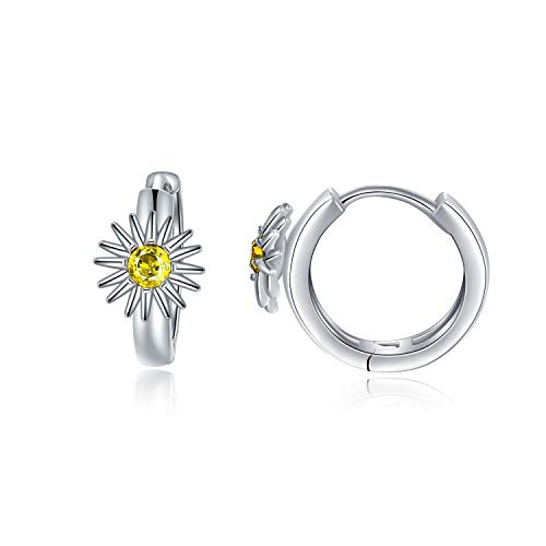 Sterling Silver Daisy Hoop Earrings with Crystals from Swarovski, Birthday Jewellery Gifts for Women Girls Daughter