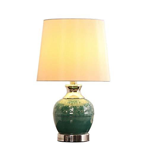 WFL-bureaulamp tafellamp touch dimmer slaapkamer beddengoed textiel groen geglazuurd gesneden keramiek retro creatief hoogwaardige tafellamp