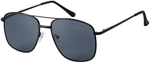 La Optica B.L.M. UV400 CAT 3 - Occhiali da sole unisex con doppia barra e panno per la pulizia inclusi Nero lucido (lenti: grigio). L
