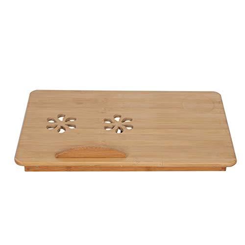 Mesa de ordenador portátil para cama, bandeja de bambú ajustable para ordenador, escritorio de regazo para cama de dormitorio
