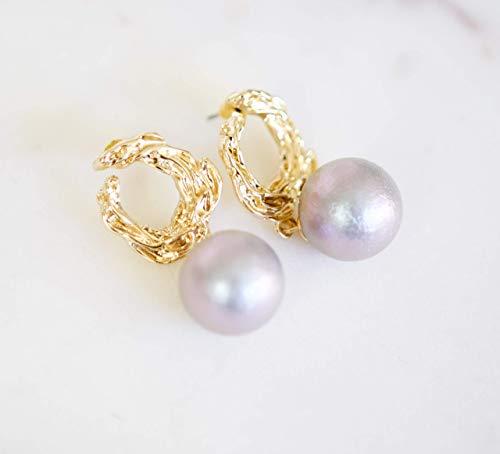 Light Lavender Faux Pearl Gold Dangle Earrings