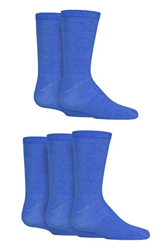 Boys and Girls 5 Pair SockShop Plain Bamboo Socks with Comfort Cuff and Handlinked Toes - Denim 5 Pair 12.5-3.5