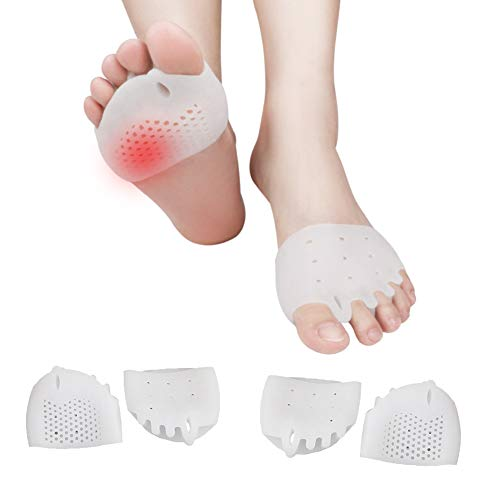 (4PCS) Ball of Foot Cushions, Bunion Corrector, Metatarsal Pads/Cushion-Reusable-Toe Separator, Soft Gel &Breathable, Best for Mortons Neuroma, Diabetic Feet, Hammer Toe, Rapid Pain Relief - White