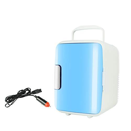 Mini refrigerador de coche de 4 L, respetuoso con el medio ambiente, portátil, mini refrigerador y calentador para coches, casas, oficinas y dormitorios (azul)