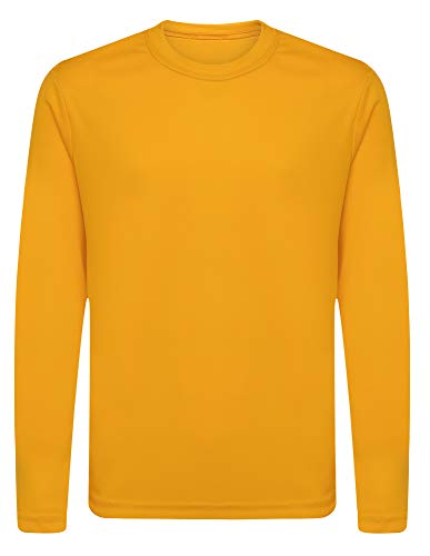 Opna Youth Athletic Performance Long Sleeve Shirts for Boy's or Girl's – Moisture Wicking Gold