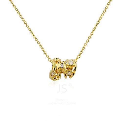 Persönlichkeit Temperament Trend All-Match Drei-Ring Diamant Kleine Anhänger Schmuck Halskette Schlüsselbein Kette