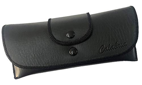 Soft Eyeglass Case Syn. Leather Attaches to Belt Horizontal Black 6.5'Inch x3'x1