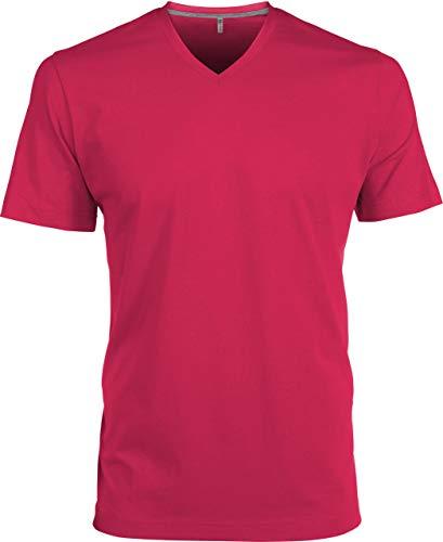 Kariban T-Shirt COL V Manches Courtes - Fuchsia, L, Homme