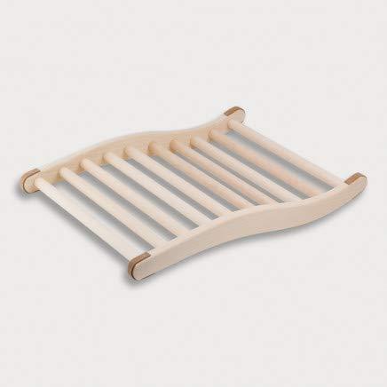 HOFMEISTER® Sauna Rückenlehne, 51 cm, Linden-Holz für hohe Temperaturen, ergonomisch geformt, rutschfeste Kork Stopper, EU Handfertigung, Rückenstütze & Kopfstütze zum Relaxen