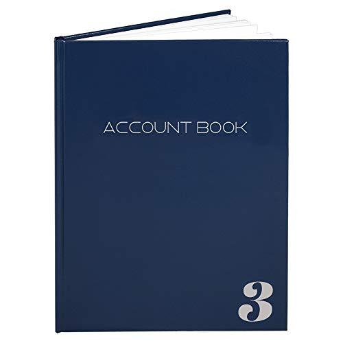 BookFactory 3 Column Account Book Ledger Book Accounting Ledger Notebook (3 Columnar Book Format) - Blue Hardbound, Smyth Sewn, 100 Pages, 8.5  x 11  (ACT-100-7CS-LBT16(Account_3Col)-AX)