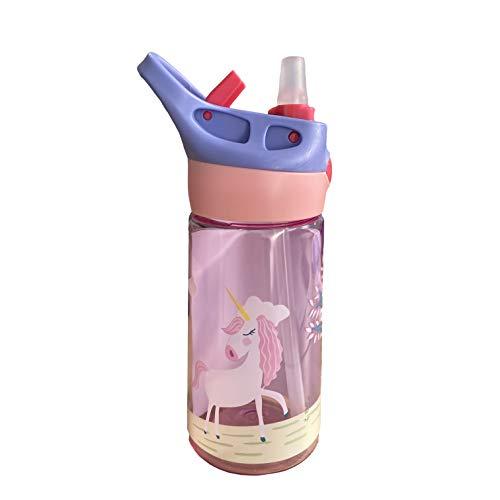 Bicchiere per bambini senza BPA con tappo igenico salva goccia 450 ml in tritan +12 mesi (Rosa)