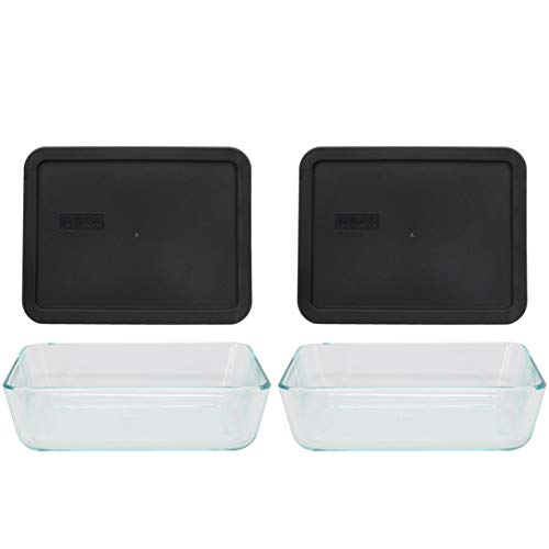 Pyrex (2) 7211 6 Cup Glass Dishes & (2) 7211 6 Cup Rectangle Black Lids