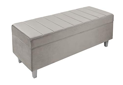 Inspire Me Home Décor Victoria Hinged Bench Classy Pewter Grey Soft Velvet 42 x 16 x 17 in Channeled Design Comfortable Seating Hidden Storage Decluttering Family Guests