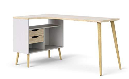 Tvilum Oslo Eckschreibtisch Winkelschreibtisch 145 x 80 cm Winkeltisch Weiß/Eiche Sonoma