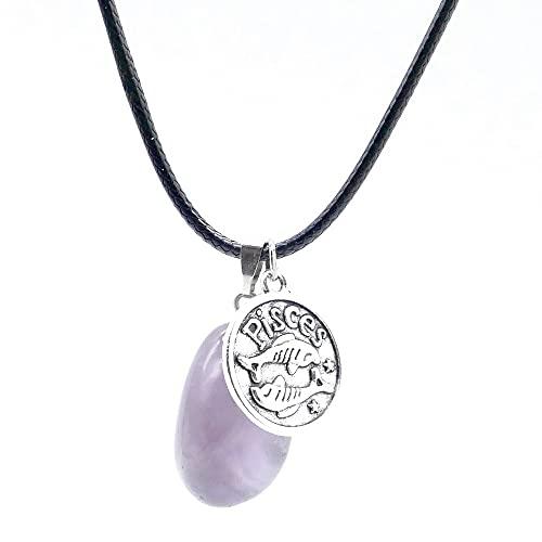 ARITZI - Collar de Cola de ratón de 45 cm con Piedra de Canto rodado de Amatista y Dije de horóscopo de Piscis