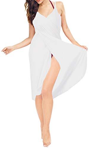 LA LEELA Espagueti Cubren suben la Playa de Las Mujeres de la Correa de Vestir Pareos Blanco_A301 S