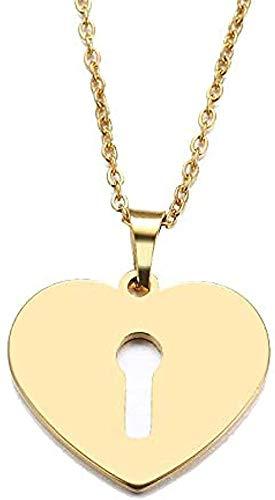 Yiffshunl Collar Fashion con candado de corazón Collar con Colgante de Color Dorado y Collar de joyería de Compromiso de Plata