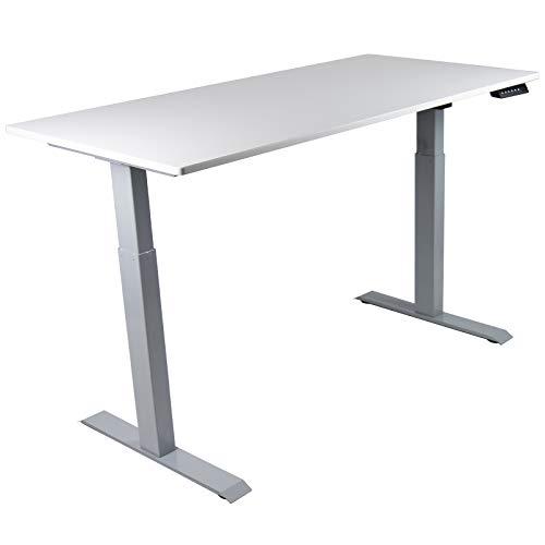 HORI® Schreibtisch PC Computertisch oder als Arbeitstisch mit elektrisch höhenverstellbarem Tischgestell I Maße: 120 x 68 cm   bis 120 kg I Silbernes Tischgestell mit weißer Platte
