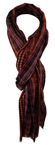 TigerTie sjaal in oranje rood bordeaux zilver zwart blauw patroon met kleine franjes - maat 200 x 50 cm.