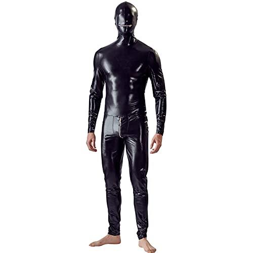 Traje de lencería de Cuero de la Laca Sexy de los Hombres Catwoman Látex Catsuit Vestido de Mono de Mono Vestido de Clubwear,Negro,M