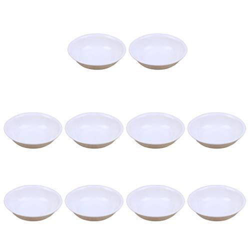Cabilock Kunststoff Schälchen Mini Dipschalen Runde Servierschalen Saucenschälchen Gewürzschale Snack Schälchen Obstbehälter für Sojasauce Dip (Weiß) 10 Stück