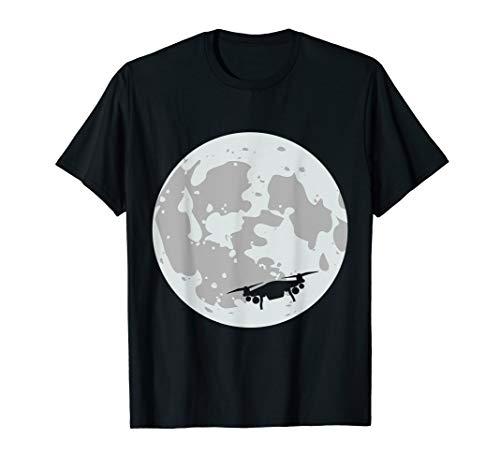 Drohne Welt Mond I Geschenk Drohnen Pilot I Quadcopter T-Shirt