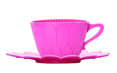 Pavonidea Lot de 2 Tasses pour gâteaux et Boissons Frt181ros avec soucoupes en Silicone, Taille des Tasses 72 x 45 mm, Taille des soucoupes 120 x 12 mm, Rose