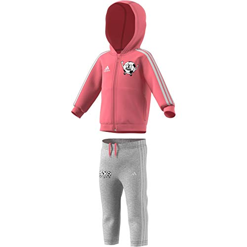 adidas Unisex Baby Lil 3s Jog Fl Trainingsanzug, Top:hazy Rose/White Bottom:medium Grey Heather/White, 18 Monate EU