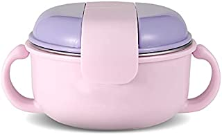 Dearya Stainless Steel Toddler Bowl - Easy Hold Handle - BPA Free Bowl - With Lid-PP Shell, Stainless Steel Liner - Baby B...