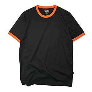 Men's Ringer Tee Crew Neck Athletic T Shirts Short Sleeve