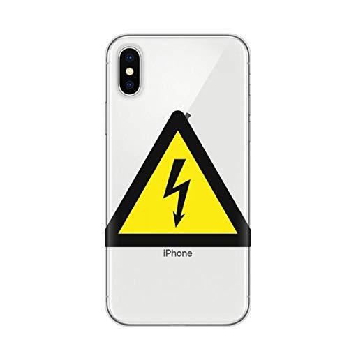 DIYthinker Advertencia Regalo Cubierta Transparente Caja del teléfono del símbolo Negro Amarillo...