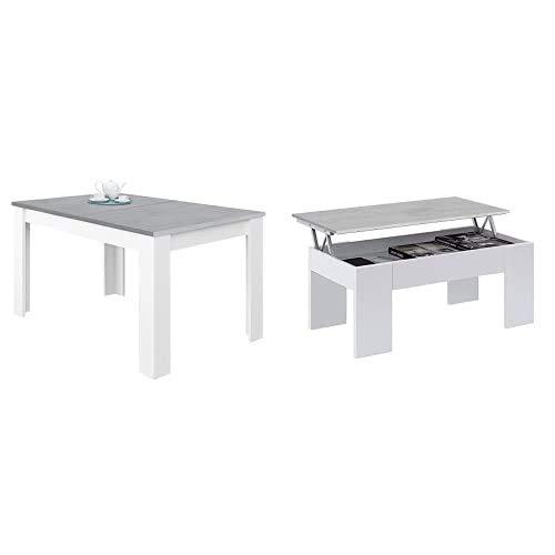 Habitdesign Mesa de Comedor Extensible, Mesa salón o Cocina, Acabado en Color Blanco Artik y Gris Cemento, Modelo Kendra + Mesa de Centro Elevable