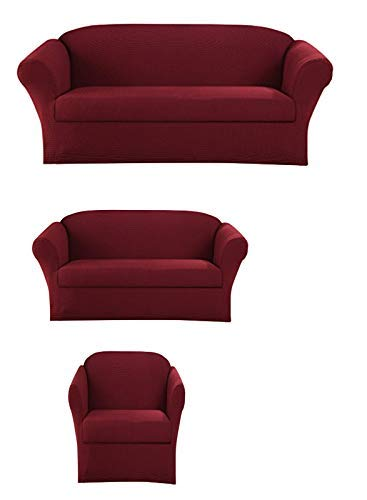 Sapphire Home 3-Piece SlipCover Set for Sofa Loveseat Couch Arm Chair, Form fit Stretch, Wrinkle Free, Furniture Protector Cover Set for 3/2/1 Cushion, Polyester Spandex, 3pc Slipcover, Burgundy